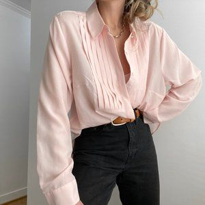 Vintage Blush Front Pleat Puff Sleeve 80s Blouse